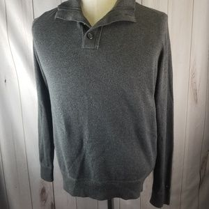 Tommy Hilfiger Grey Button Neck Collar Pima Cotton